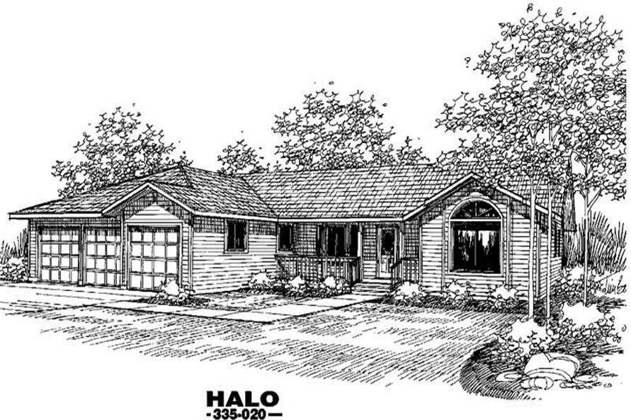 4-Bedroom, 2223 Sq Ft Ranch Home Plan - 145-1024 - Main Exterior