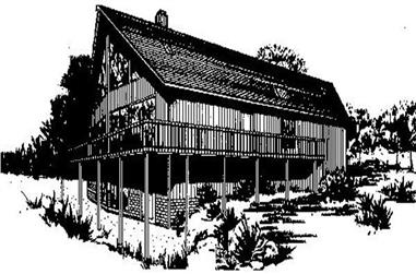 3-Bedroom, 1974 Sq Ft Log Cabin House Plan - 145-1029 - Front Exterior