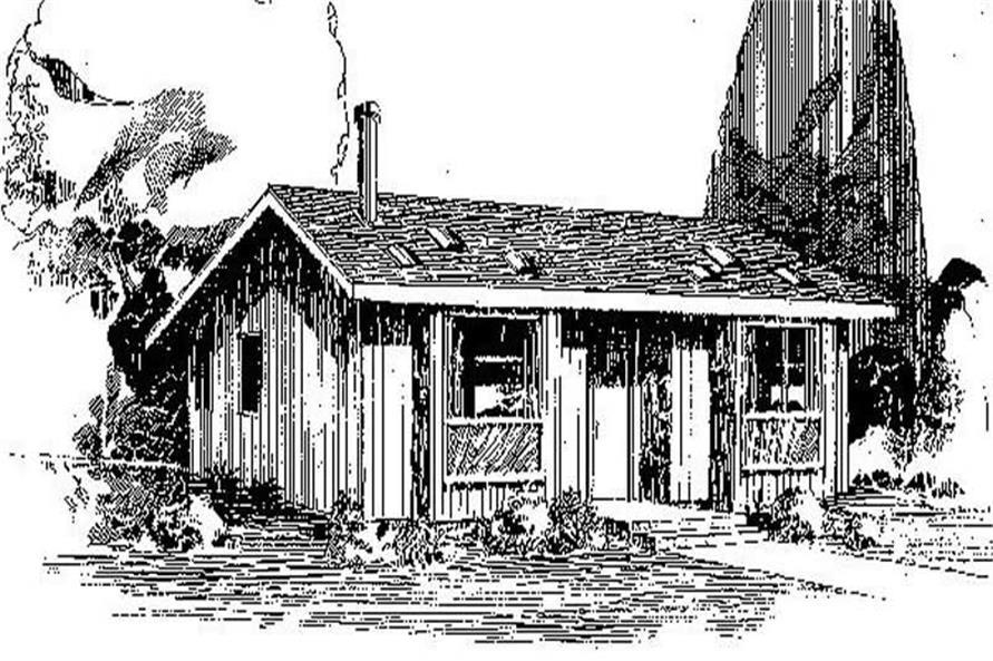 3-Bedroom, 1078 Sq Ft Log Cabin Home Plan - 145-1031 - Main Exterior