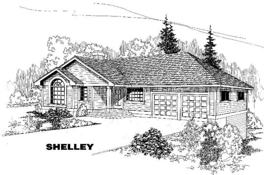 Ranch home (ThePlanCollection: Plan #145-1034)