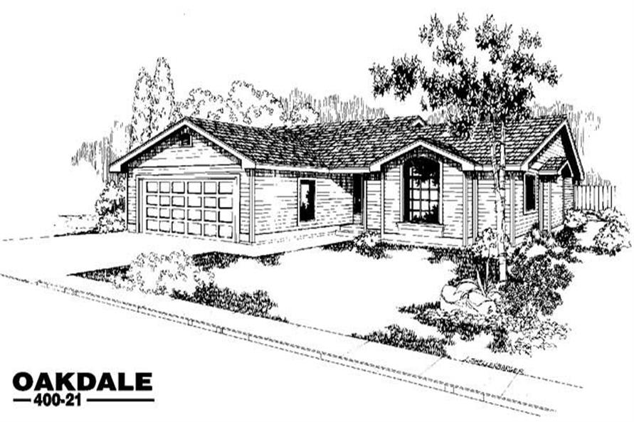 3-Bedroom, 1469 Sq Ft Ranch House Plan - 145-1035 - Front Exterior