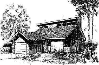 3-Bedroom, 1311 Sq Ft Log Cabin Home Plan - 145-1039 - Main Exterior