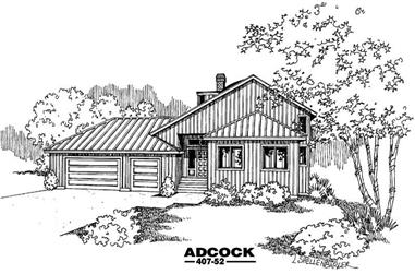 3-Bedroom, 1989 Sq Ft Contemporary House Plan - 145-1040 - Front Exterior