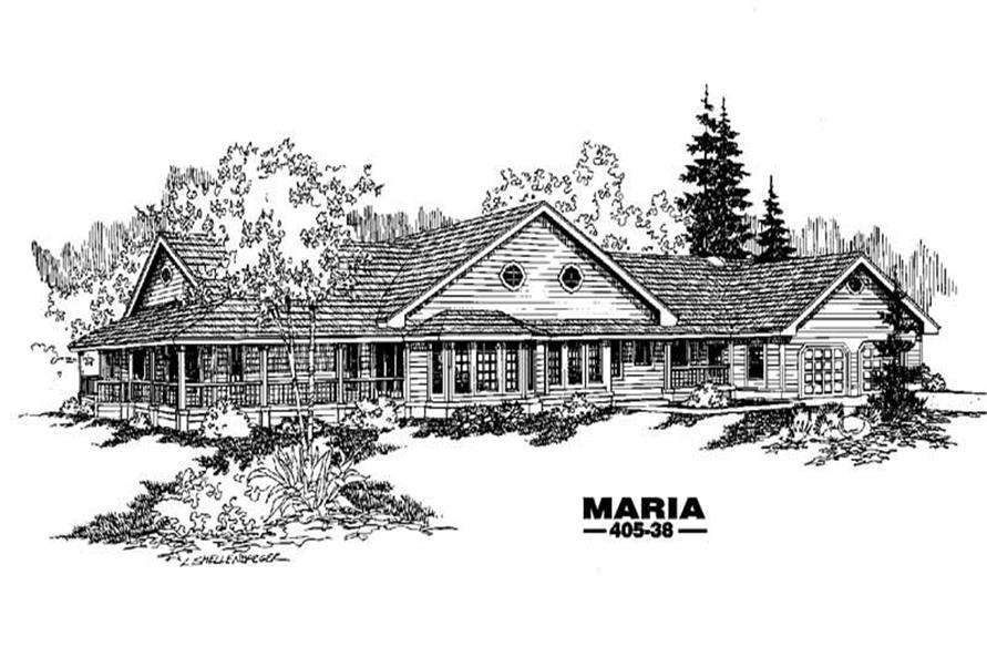 Farmhouse plans LMK 405-38 front rendering.