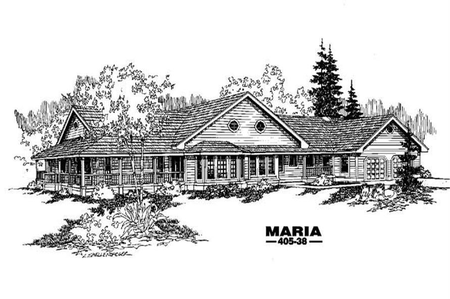 Farmhouse plans LMK 405-38 front rendering.