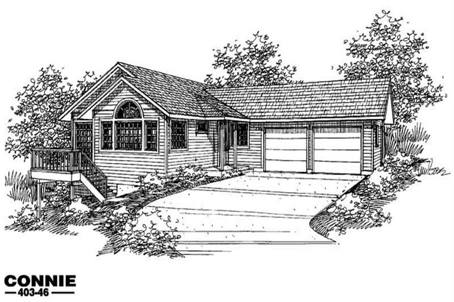 3-Bedroom, 1384 Sq Ft Small House Plans - 145-1050 - Main Exterior