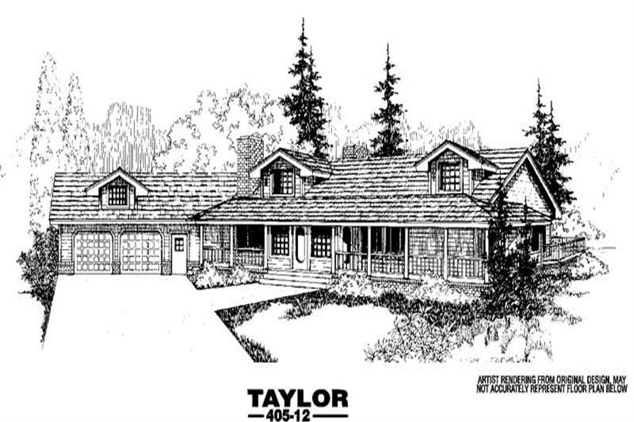 3-Bedroom, 2679 Sq Ft Country House Plan - 145-1056 - Front Exterior