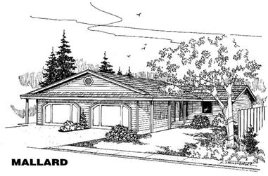 2-Bedroom, 1129 Sq Ft Multi-Unit House Plan - 145-1058 - Front Exterior