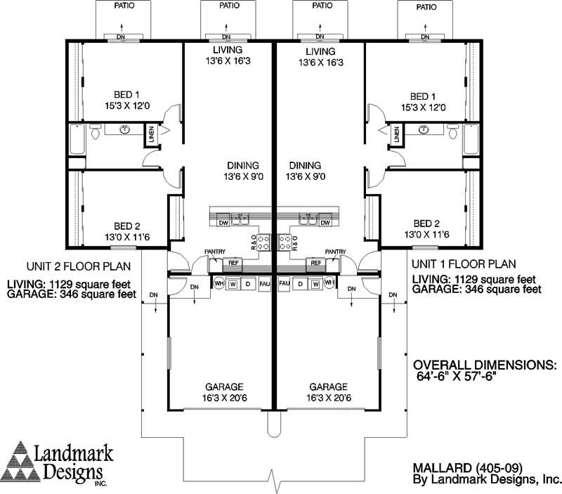 Multi unit house plans home design mallard 6352 for Multi unit floor plans