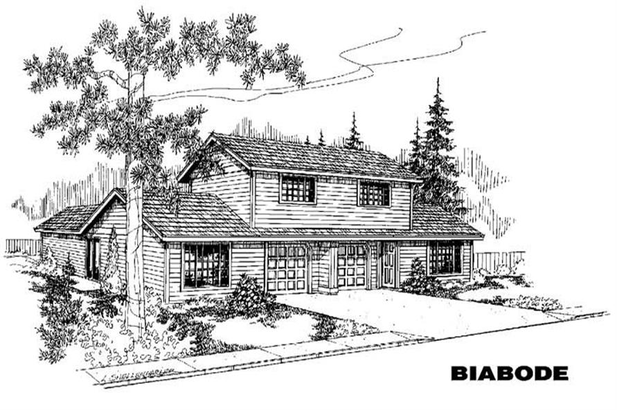 3-Bedroom, 1210 Sq Ft Multi-Unit House Plan - 145-1059 - Front Exterior
