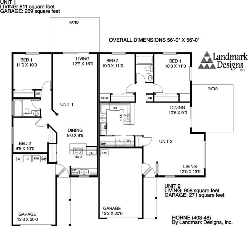 Multi unit house plans home design horne 5528 for Multi unit home plans