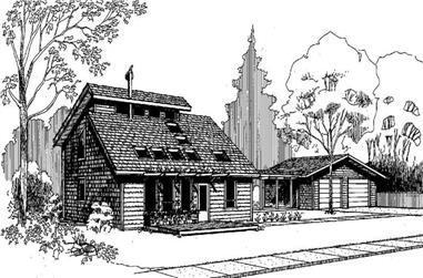 3-Bedroom, 1374 Sq Ft Log Cabin Home Plan - 145-1081 - Main Exterior