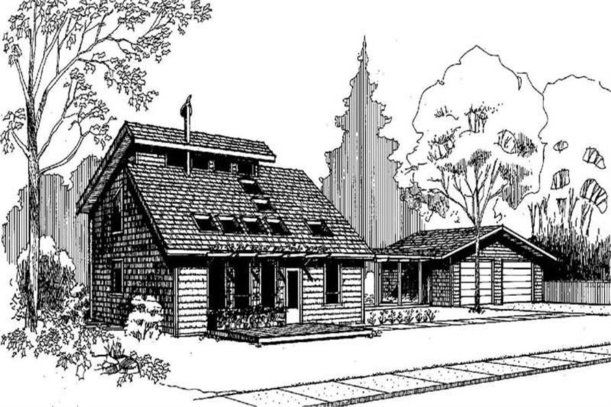 3-Bedroom, 1374 Sq Ft Log Cabin Home Plan - 145-1081 - Main Exterior