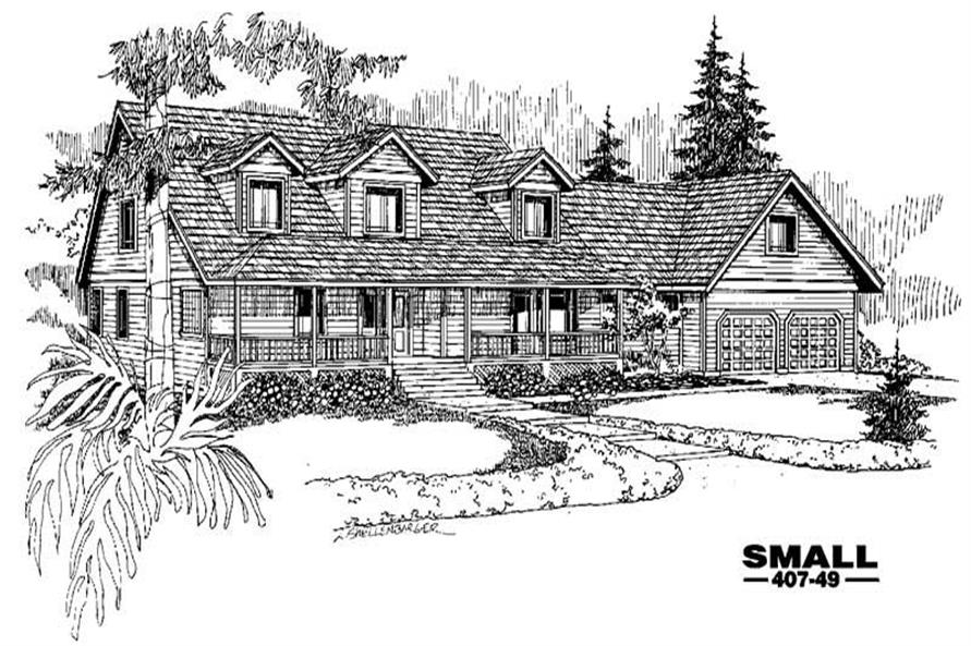 3-Bedroom, 2484 Sq Ft Country House Plan - 145-1082 - Front Exterior