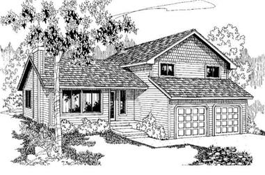 3-Bedroom, 1728 Sq Ft Contemporary House Plan - 145-1083 - Front Exterior