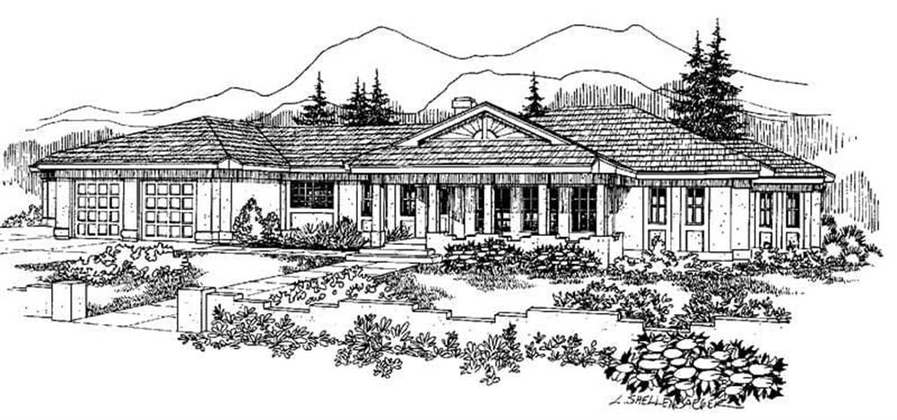 Front elevation of Ranch home (ThePlanCollection: House Plan #145-1091)