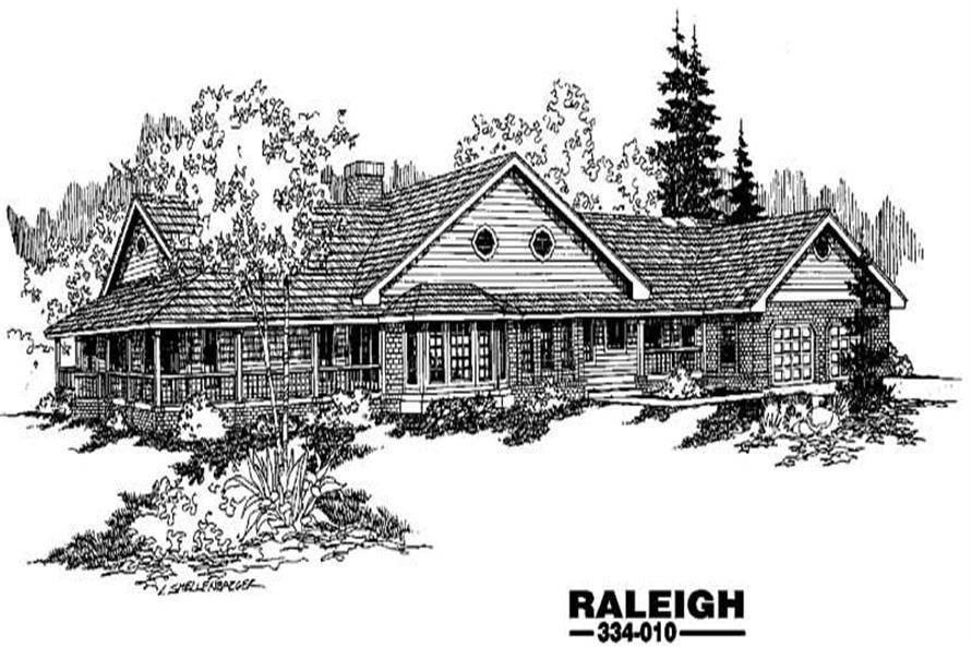 Ranch homeplans front rendering.