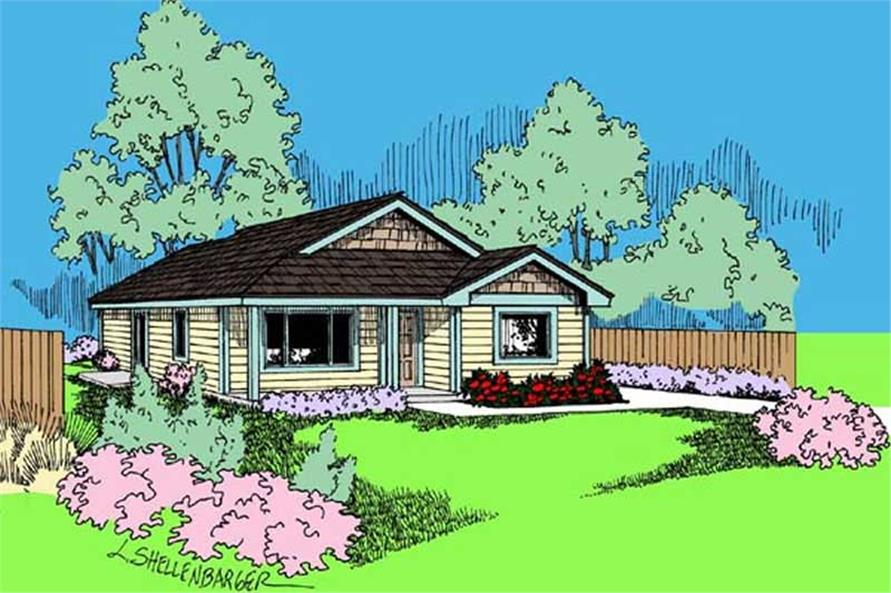 This is a colored image of these small house plans. # 6796