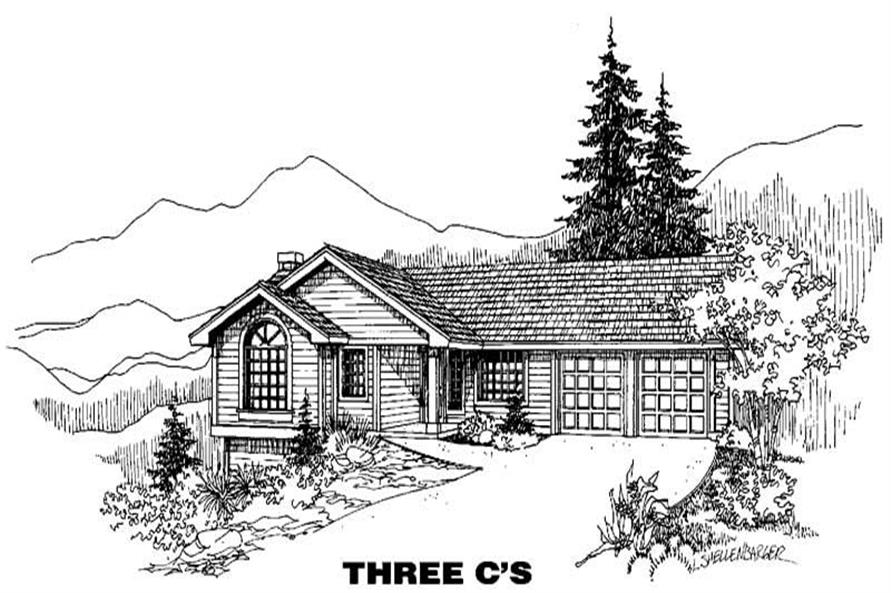 3-Bedroom, 1202 Sq Ft Small House Plans - 145-1117 - Front Exterior