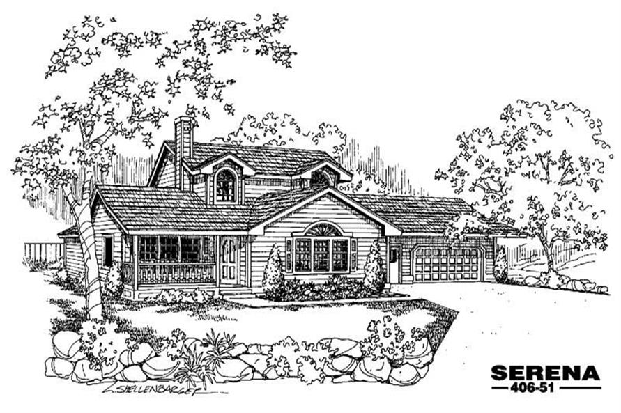 4-Bedroom, 1853 Sq Ft Country Home Plan - 145-1126 - Main Exterior