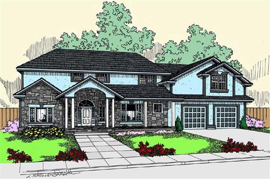 4-Bedroom, 2992 Sq Ft Traditional Home Plan - 145-1130 - Main Exterior