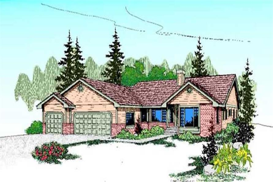 3-Bedroom, 2544 Sq Ft Ranch Home Plan - 145-1135 - Main Exterior