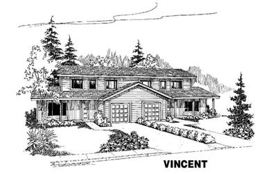 4-Bedroom, 1453 Sq Ft Multi-Unit Home Plan - 145-1136 - Main Exterior