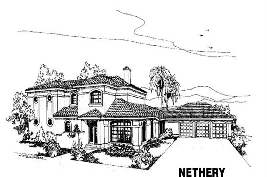 4-Bedroom, 3063 Sq Ft Mediterranean Home Plan - 145-1138 - Main Exterior