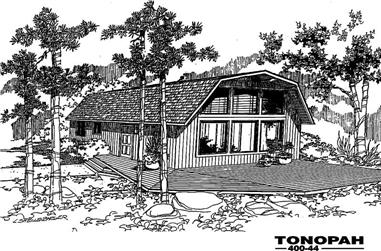 3-Bedroom, 1260 Sq Ft Log Cabin House Plan - 145-1154 - Front Exterior
