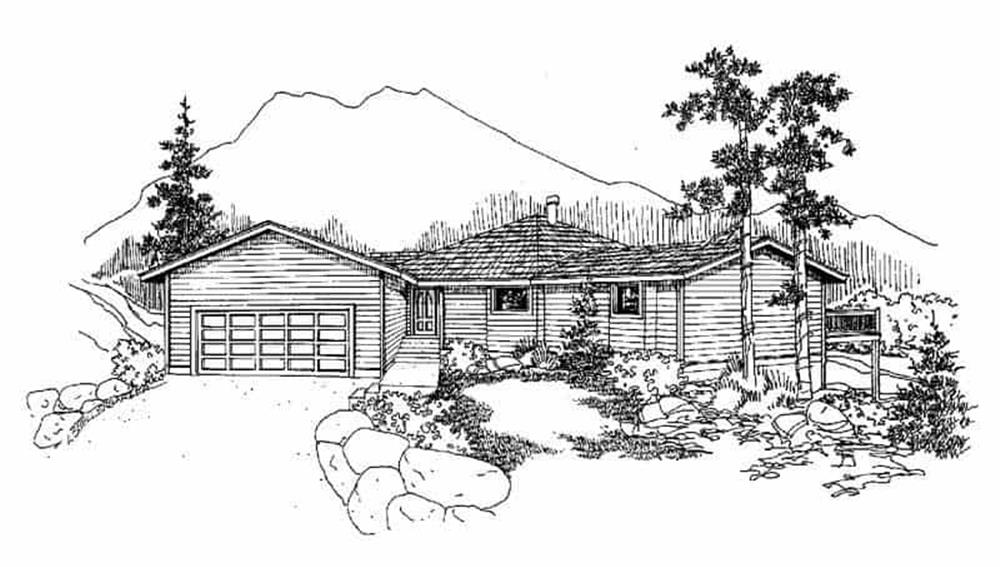 Front elevation of Contemporary home (ThePlanCollection: House Plan #145-1161)