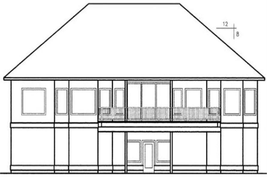 Home Plan Rear Elevation of this 4-Bedroom,2876 Sq Ft Plan -145-1162