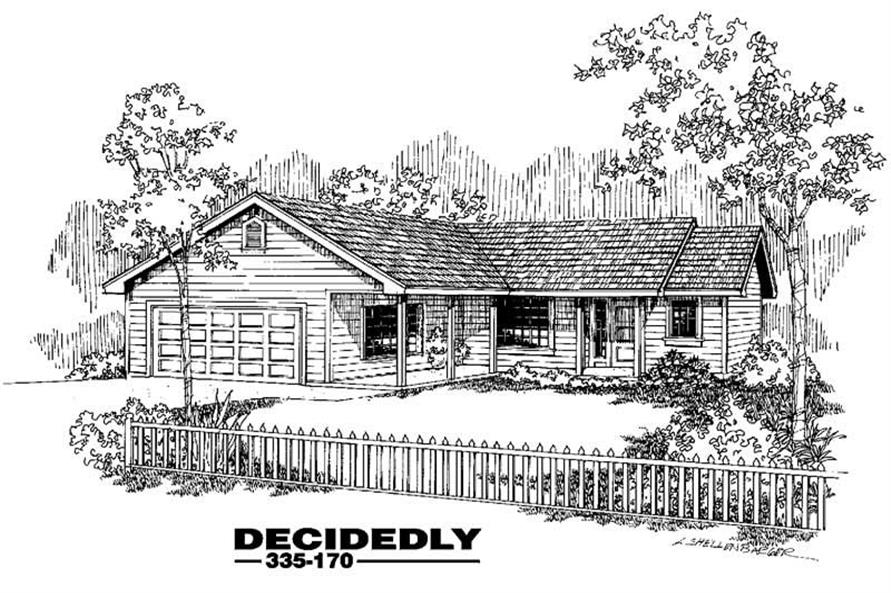 3-Bedroom, 1444 Sq Ft Ranch House Plan - 145-1176 - Front Exterior