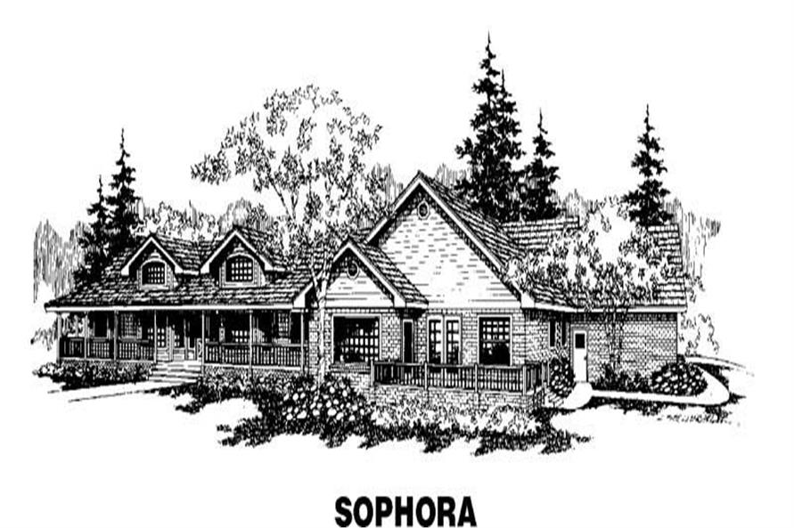 4-Bedroom, 3426 Sq Ft Country House Plan - 145-1186 - Front Exterior