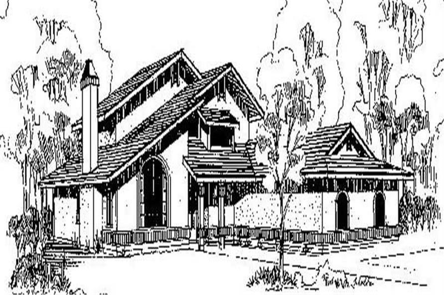 3-Bedroom, 1868 Sq Ft Southwest House Plan - 145-1194 - Front Exterior