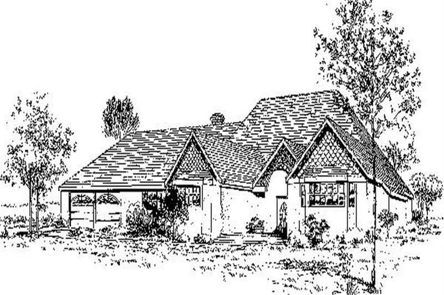 2-Bedroom, 1518 Sq Ft French House Plan - 145-1196 - Front Exterior