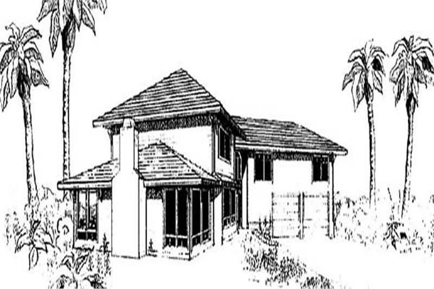 4-Bedroom, 1985 Sq Ft Coastal House Plan - 145-1197 - Front Exterior