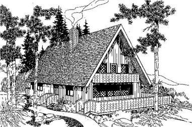 1-Bedroom, 1476 Sq Ft Log Cabin Home Plan - 145-1202 - Main Exterior