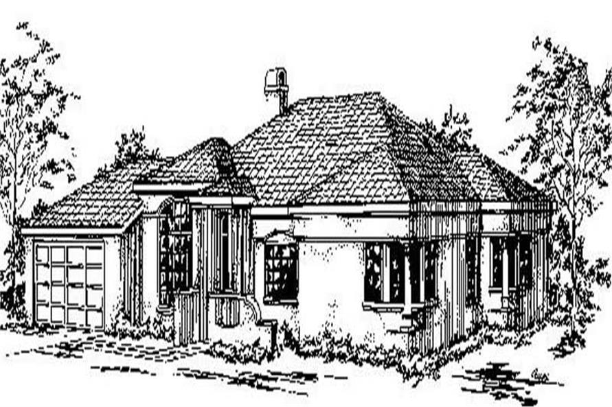 3-Bedroom, 2084 Sq Ft Mediterranean Home Plan - 145-1203 - Main Exterior