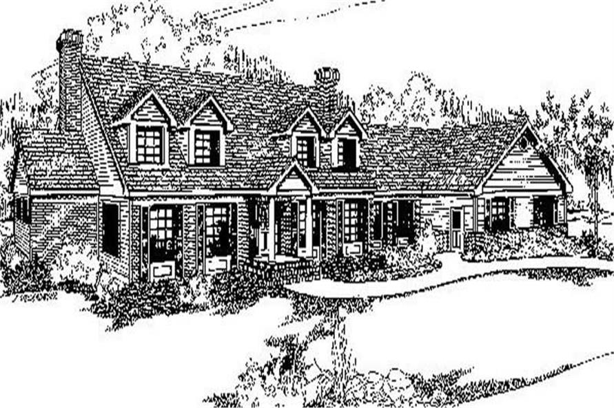 4-Bedroom, 3495 Sq Ft Country Home Plan - 145-1208 - Main Exterior