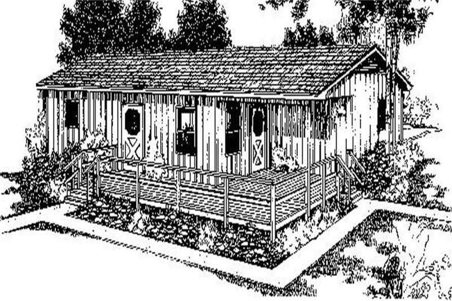 3-Bedroom, 1005 Sq Ft Log Cabin Home Plan - 145-1212 - Main Exterior