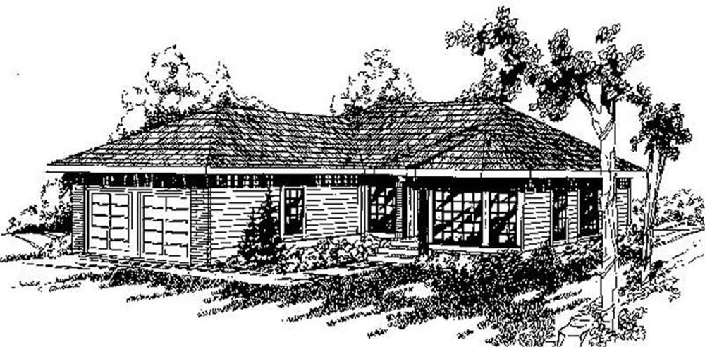Ranch home (ThePlanCollection: Plan #145-1216)