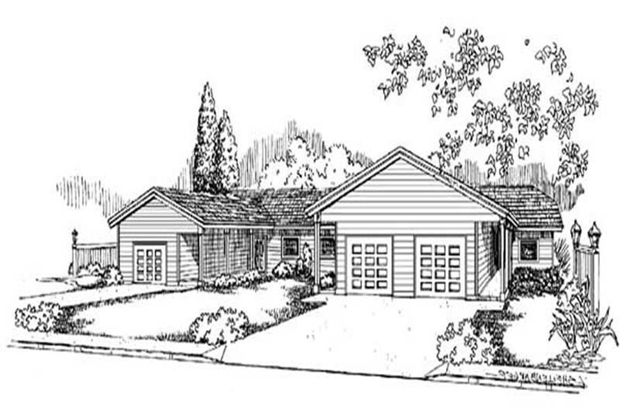 2-Bedroom, 1010 Sq Ft Multi-Unit Home Plan - 145-1218 - Main Exterior