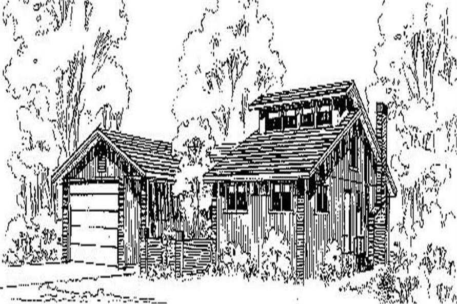 3-Bedroom, 1976 Sq Ft Log Cabin House Plan - 145-1224 - Front Exterior