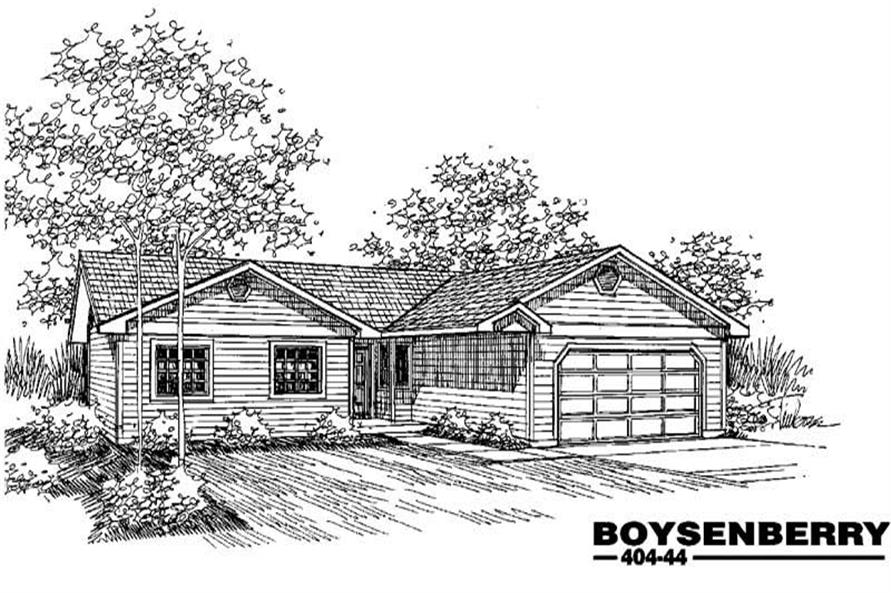 3-Bedroom, 1326 Sq Ft Ranch House Plan - 145-1225 - Front Exterior