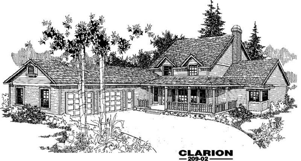 Country home (ThePlanCollection: Plan #145-1240)