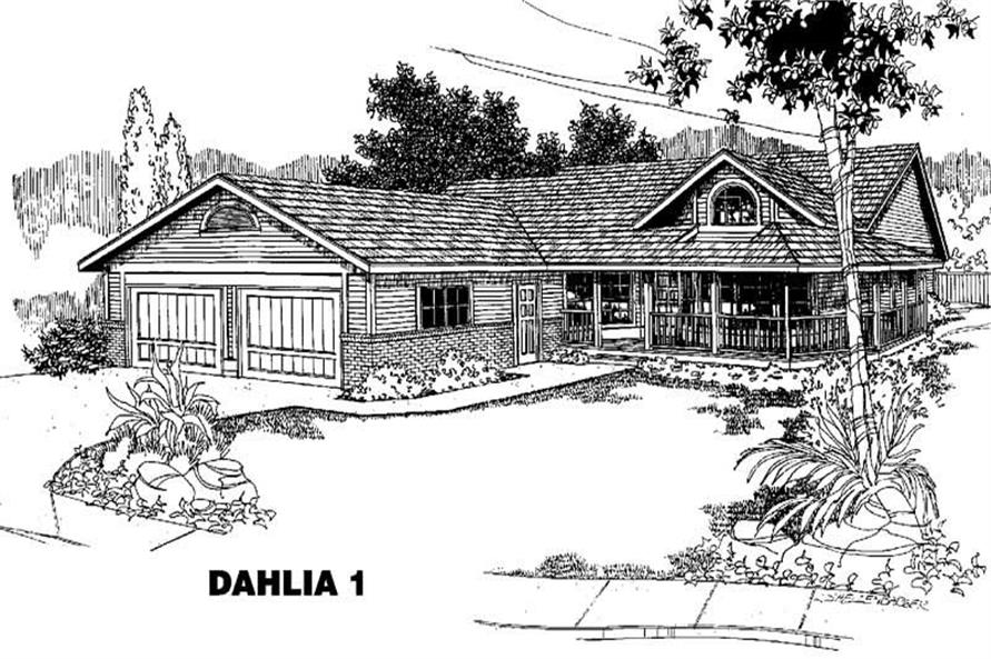 3-Bedroom, 1485 Sq Ft Country House Plan - 145-1248 - Front Exterior