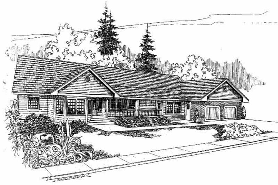 3-Bedroom, 2371 Sq Ft Ranch Home Plan - 145-1256 - Main Exterior