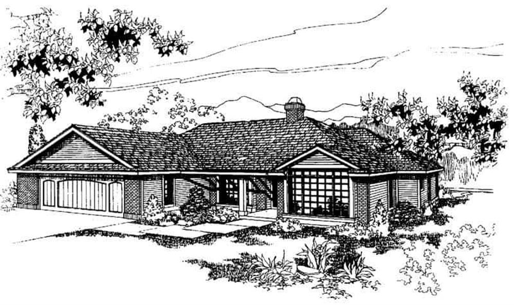 Front elevation of Ranch home (ThePlanCollection: House Plan #145-1266)