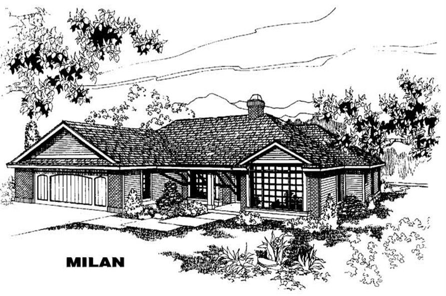 3-Bedroom, 1902 Sq Ft Home Plan - 145-1266 - Main Exterior