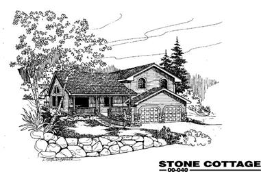 3-Bedroom, 1296 Sq Ft Country House Plan - 145-1274 - Front Exterior